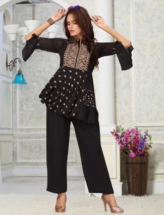 Black georgette casual events punjabi style pant suit
