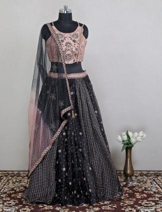 Black georgette designer wedding wear lehenga choli