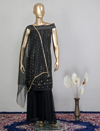 Black georgette wedding occasions palazzo suit