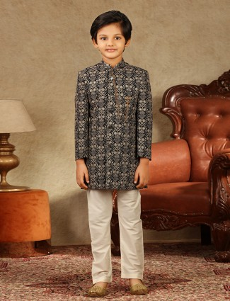 Black georgette wedding wear boys sherwani