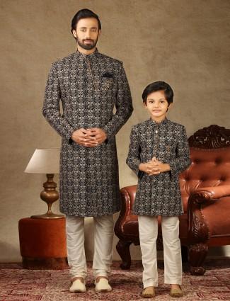 Black georgette wedding wear fathre and son matching sherwani