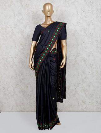 Black handloom cotton wedding saree
