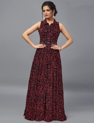 Black hue designer floor length salwar suit in georgette