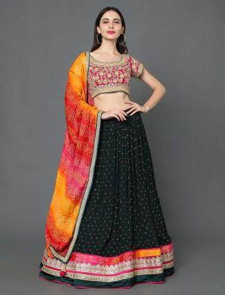 Black hue georgette wedding wear lehenga choli