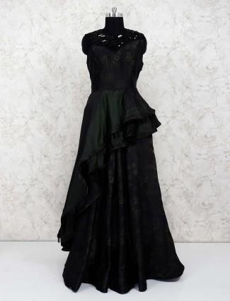 Black hue satin pretty gown