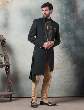 Black hue solid terry rayon wedding indo western