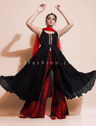 Black indo western salwar suit in georgette