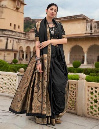 Black innovative lovely saree in silk