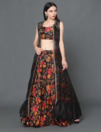Black jacket style silk wedding wear lehenga choli