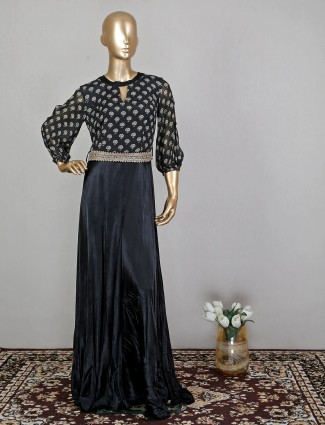 Black jumpsuit in georgette for wedding occasion