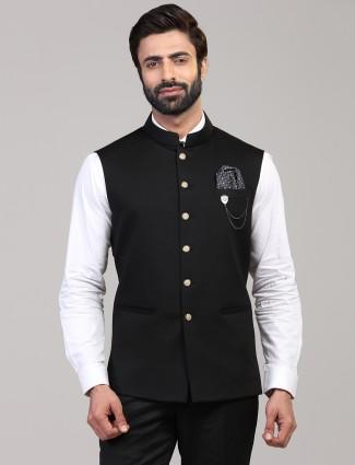 Black knitted waistcoat for mens