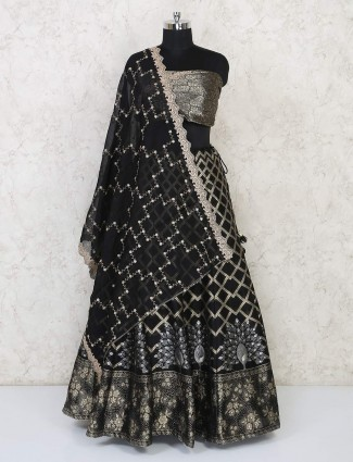 Black lehenga in semi stitched for wedding occassion
