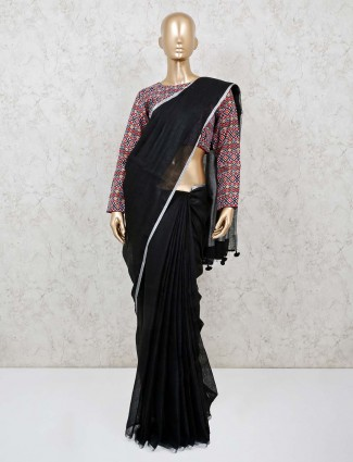 Black linen party function solid saree with ready made blouse