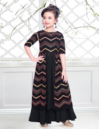 Black palazzo suit in georgette with thread and aabla work details