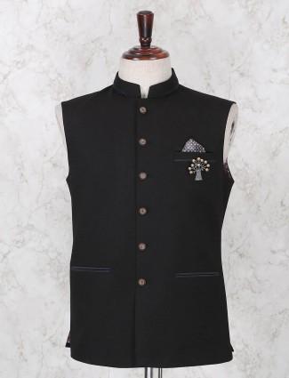 Black party wear terry rayon waistcoat