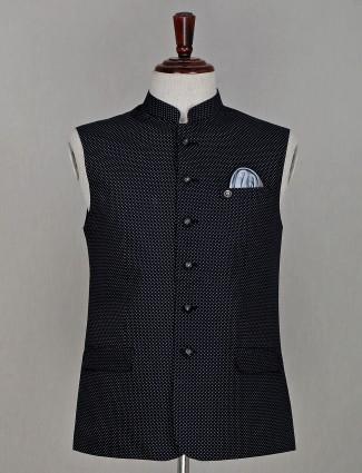 Black printed cotton waistcoat for men