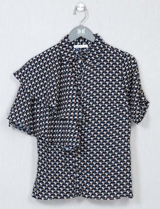 Black printed crepe top for women