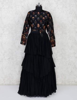 Black printed designer lehenga choli in georgette