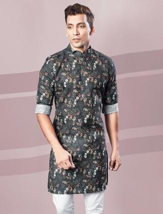 Black printed festive function cotton kurta