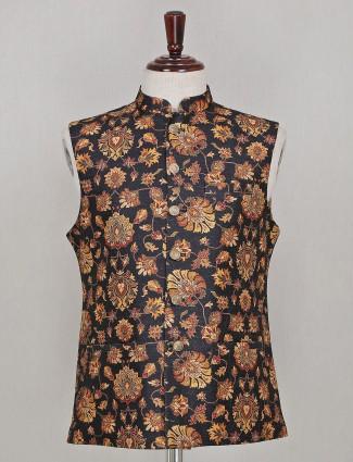 Black printed party function silk waistcoat