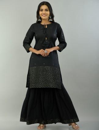 Black printed punjabi cotton festive ocasions sharara suit