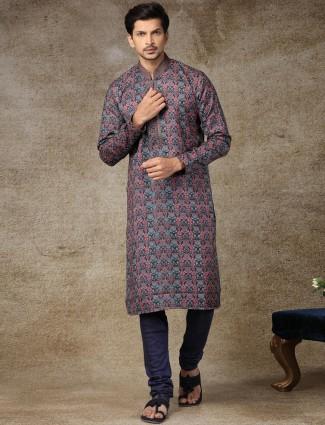 Black printed silk kurta suit for festive