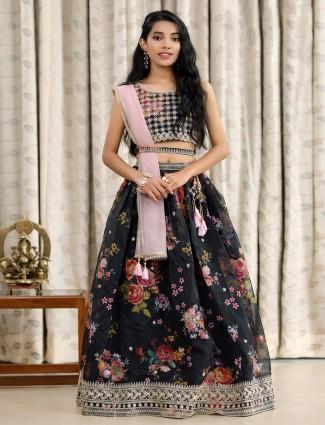 Black printed style designer lehenga choli for girls