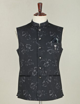 Black printed terry rayon party wear waistcoat for mens