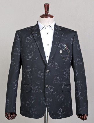 Black printed terry rayon wedding wear blazer
