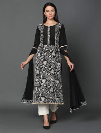 black punjabi chanderi silk salwar kameez for festive wear