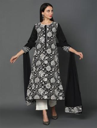 black punjabi style cotton kota salwar suit
