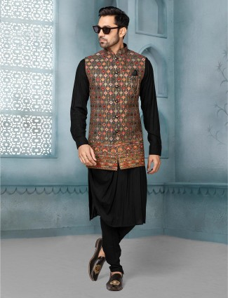 Black raw silk mens waistcoat set