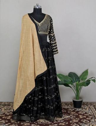 Black rich silk lehenga choli for weddings
