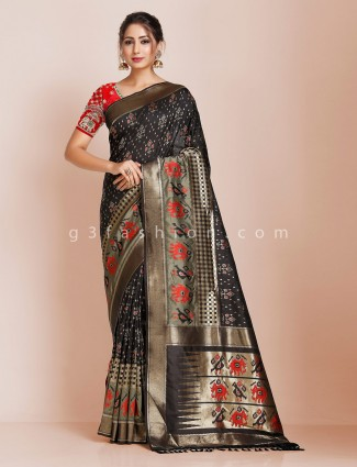 Black saree design in banarasi silk