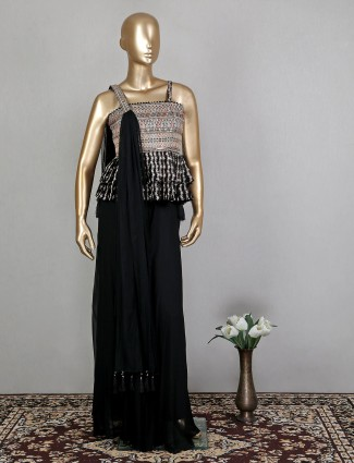 Black shade palazzo suit for woman with sequins work details
