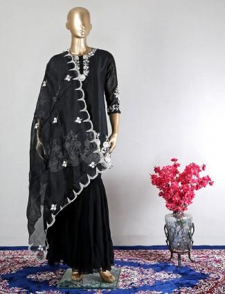Black sharara salwar kameez for wedding wear in silk