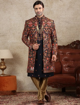 Navy silk fabric sherwani for wedding