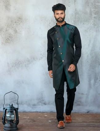 Black silk kurta suit festive wear