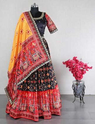 Black silk lehenga choli for women