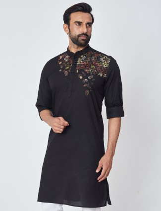 Black simple cotton kurta special for festive sessions