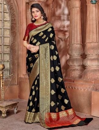 Black soft silk saree for wedding