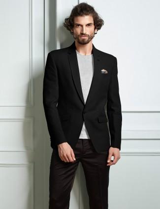 Black solid party wear mens blazer