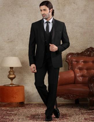 Black solid party wear official coat suit