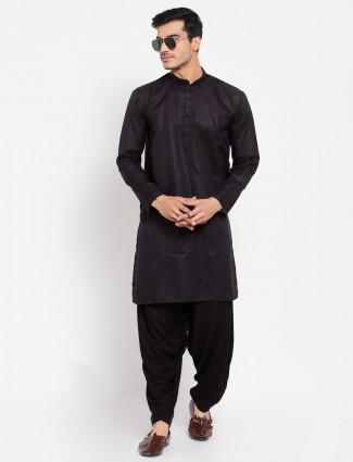 Black solid style cotton kurta suit