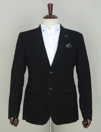 Black solid style party wear blazer for mens