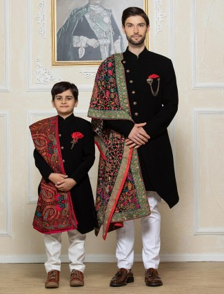 Black solid terry rayon father and son indo western