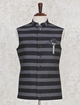Black stripe terry rayon mens waistcoat