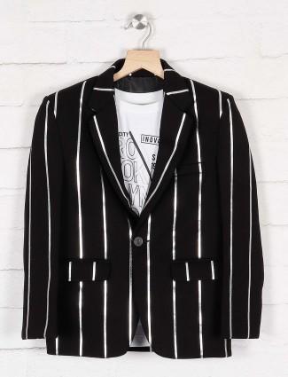 Black stripe terry rayon party wear blazer