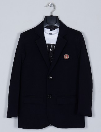Black terry rayon blazer for boys in solid style