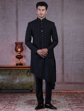 Black terry rayon designer double layer indo western suit